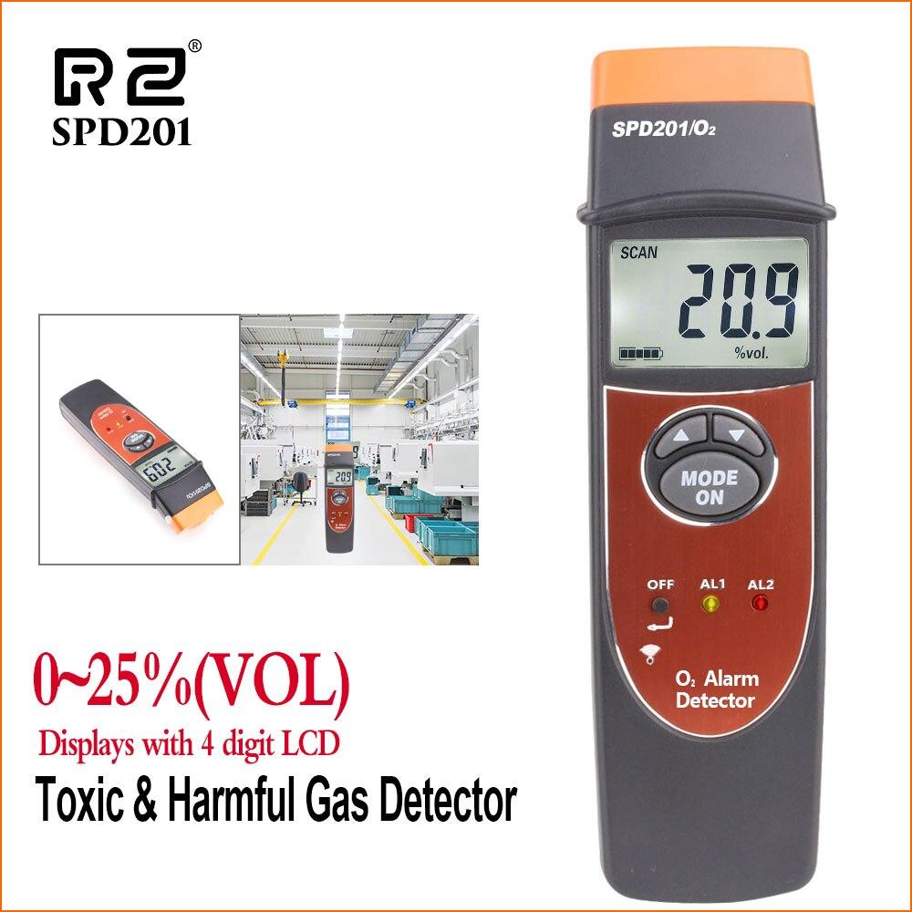Détecteur d'oxygène professionnel RZ (O2) testeur de moniteur de teneur en oxygène portatif 0-25% VOL détecteur de gaz O2 analyseur de gaz SPD201