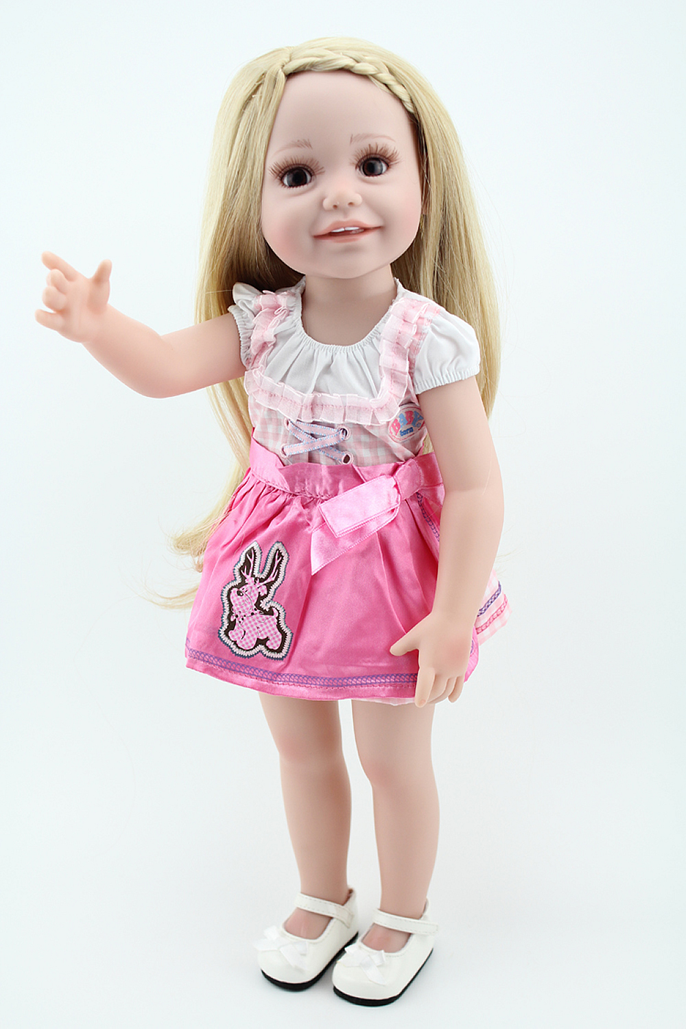 Reborn Baby Doll Kids Playmate Pink Princess Girl Blonde Hair Fashion 18 inch American Babies Collection