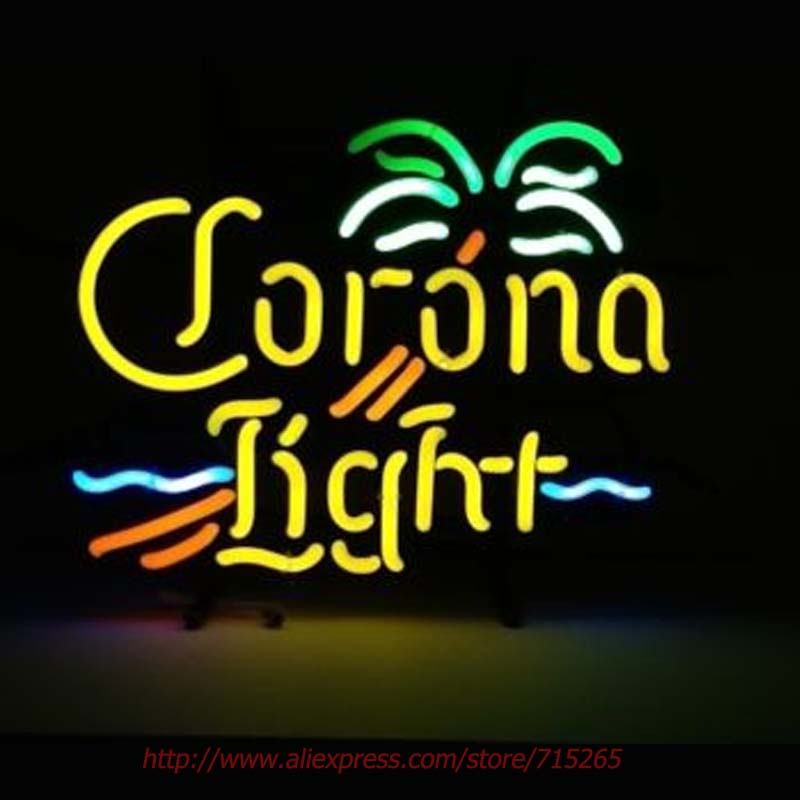 Corona Light Beer Neon Bulbs Palm Tree Neon Sign Real Glass Tube Handcrafted Recreation Windows Garage Advertise Guarantee 17x14