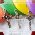 mini rosary bracelet cross, religious Crucifix , mini Saint Benedict cross, metal alloy cross with antique silver plating