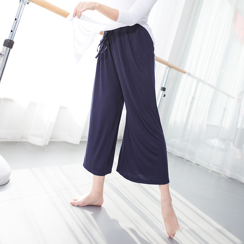 Dance Pants Women Lyrical Pants Ballet Capris Dance Class Pants Lyrical Dance Clothing Wide Capris Pants Practice Dance Wear