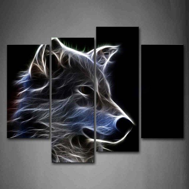 Grauer Wolf Wandkunst Malerei Bilder Leinwand Tier Das Bild Für Home Moderne  Dekoration Ungerahmt Leinwand Günstige