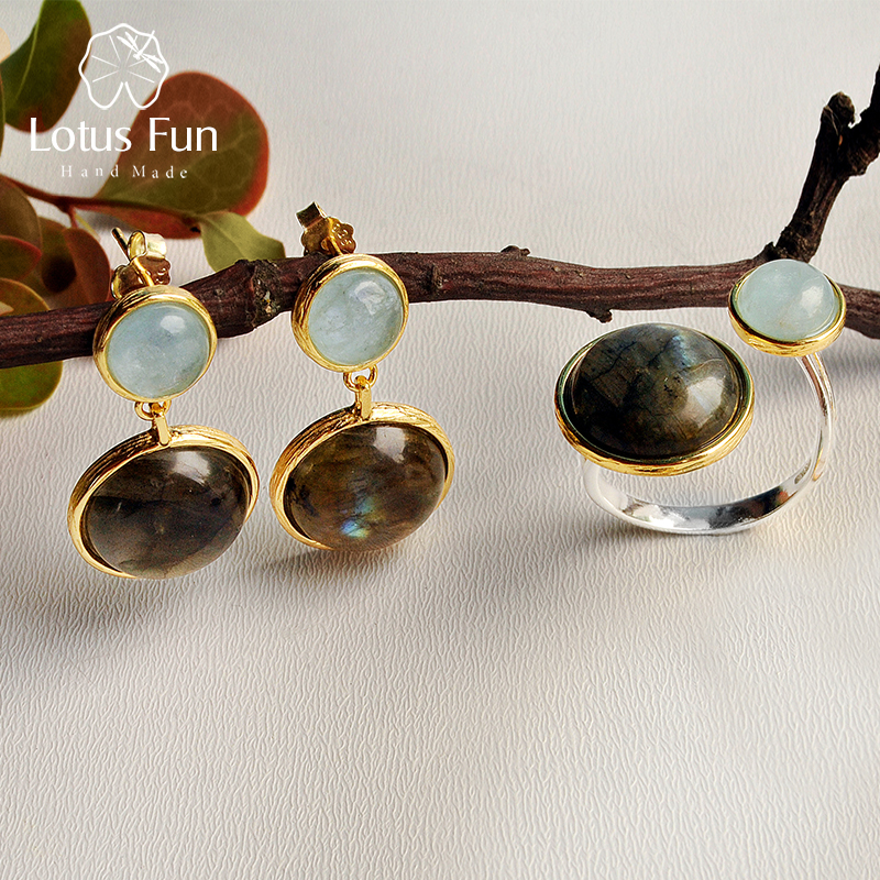 Lotus Fun Real 925 Sterling Silver Natural Labradorite Handmade Fine Jewelry Mysterious Lake Jewelry Set for Women Brincos