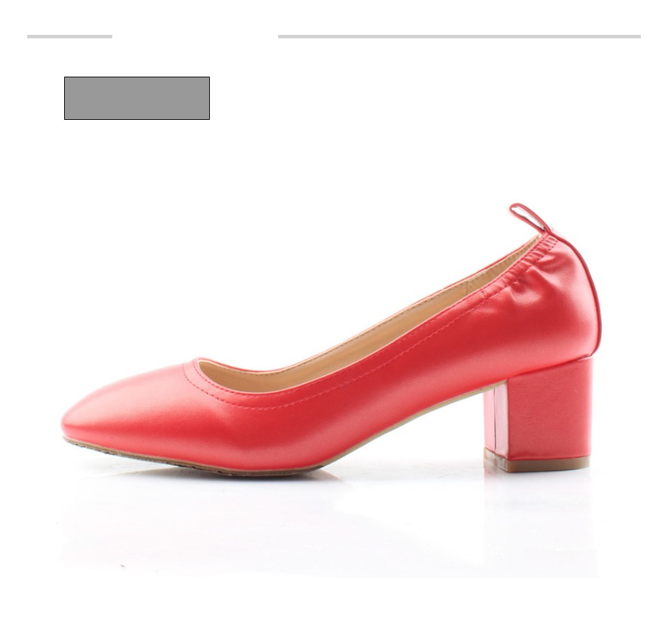 Shoes Women Genuine Leather Fashion Office and Career Rounded Toe 2-inch Block Heel Fashion Office Lady Pumps Size 34-41, K-307 33