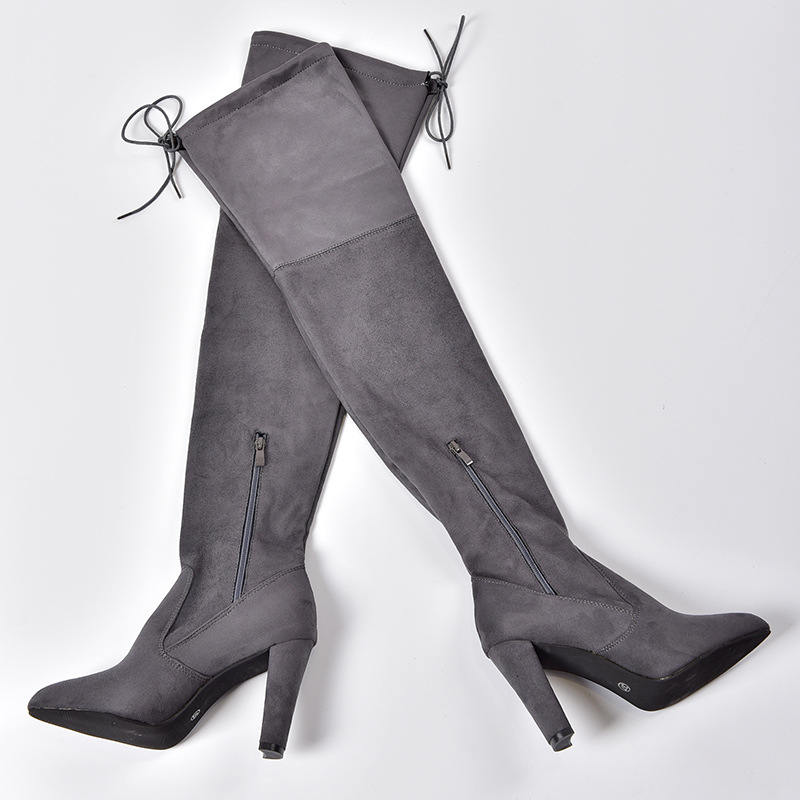 Women's Flock Leather Over The Knee Boots Size 34-43 12