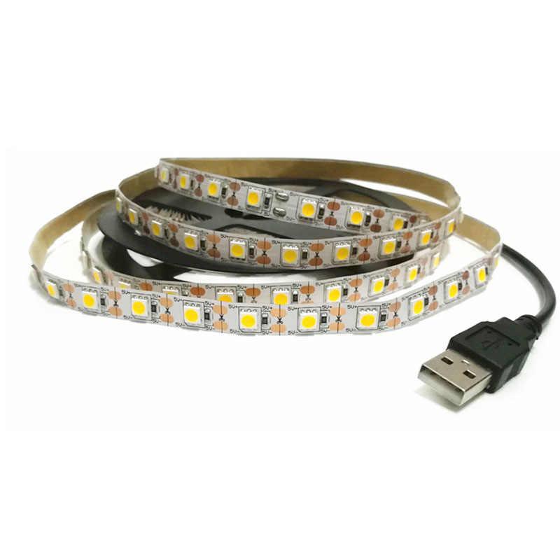 USB 5V LED Strip Lampu SMD3528 50 CM 1M 2M 3M 4M 5M RGB hijau Merah Biru Natal Fleksibel Latar Belakang TV Malam Hari Pencahayaan