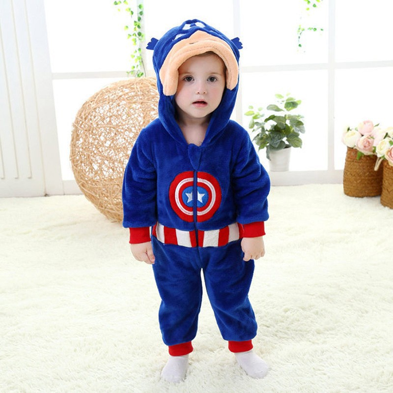 Spring and autumn baby boy clothes spiderman Captain America baby boy rompers Red Blue newborn clothes bodysuit one piece bebe (15)