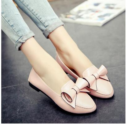 Women's spring and autumn shoes 2017 new pointed flat shoes shallow mouth bow flower peas shoes size 35-40shoes woman 2017 the new european american fashion horn bow pointed mouth shallow comfortable flat sheet metal red shoes tide size 35 41