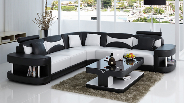 Beautiful True Leather Sofa Set For Modern Living Room