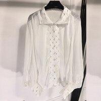 ВЗЛЕТНО посадочной полосы блузки для малышек 2018 Высокое качество модные, пикантные блузка с прорезями для женщин фонари рукавом Блузка Топ