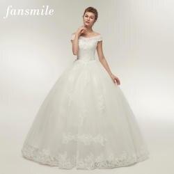 Fansmile корейский кружевной аппликацией вечерние, свадебные платья 2019 плюс Размеры Свадебное платье свадебное платье для принцессы