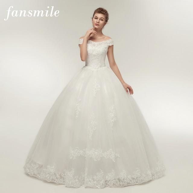 Fansmile קוריאני תחרה Applique כדור שמלות כלה שמלות 2019 בתוספת גודל כלה שמלת נסיכת חתונה שמלה FSM-003F