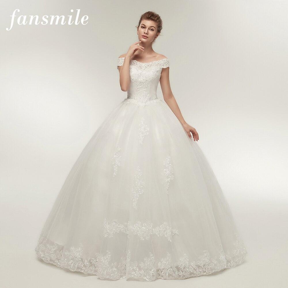 Fansmile Korean Lace Applique Ball Gowns Wedding Dresses 2019 Plus