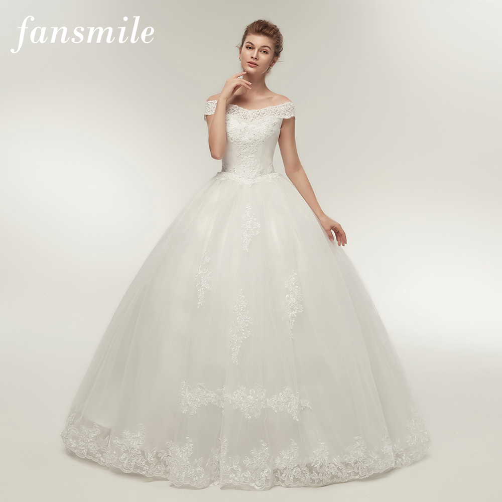 Fansmile Korean Lace Applique Ball Gowns Wedding Dresses 2020 Plus Size Bridal Dress Princess Wedding Gown Real Photo FSM-003F(China)