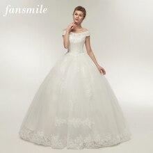 Fansmile koreańska koronka aplikacja suknie balowe suknie ślubne 2020 Plus rozmiar suknia ślubna suknia ślubna księżniczka prawdziwe zdjęcie FSM 003F