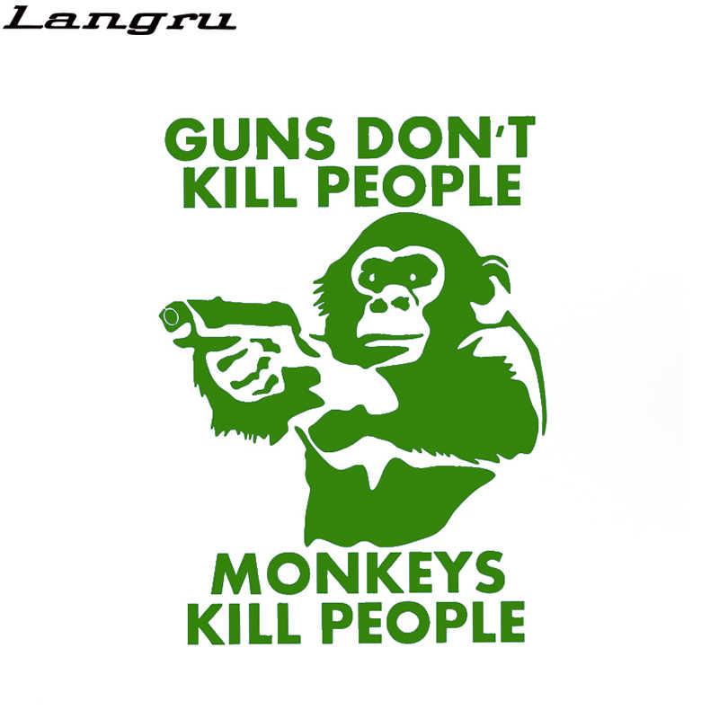 Пистолеты не убивают людей большое животное обезьяна наклейки для автомобиля для дома на колесах миникаб бампер Мотоцикл искусственная кожа для автостайлинга наклейка Jdm