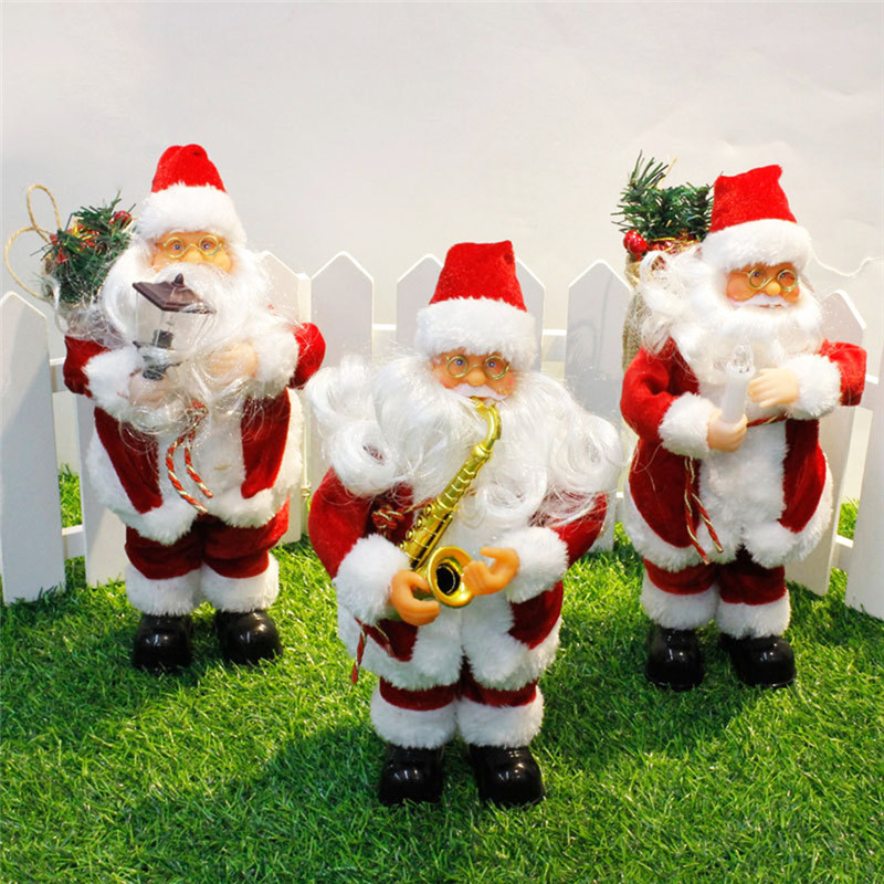 Hot Sell 2017 New Style 24cm Electric Christmas Santa Claus Music Singing Ornaments Children Gift Toys Home Garden Decorations