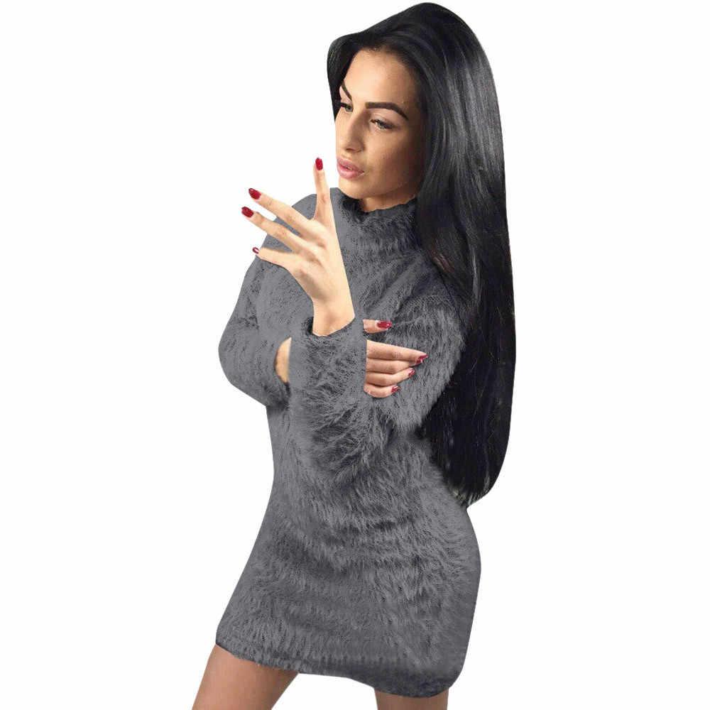 毛深い無地女性倍 vestido オーバーの襟ドレス長袖冬高ネックセーターボディコンワープミニドレス #15