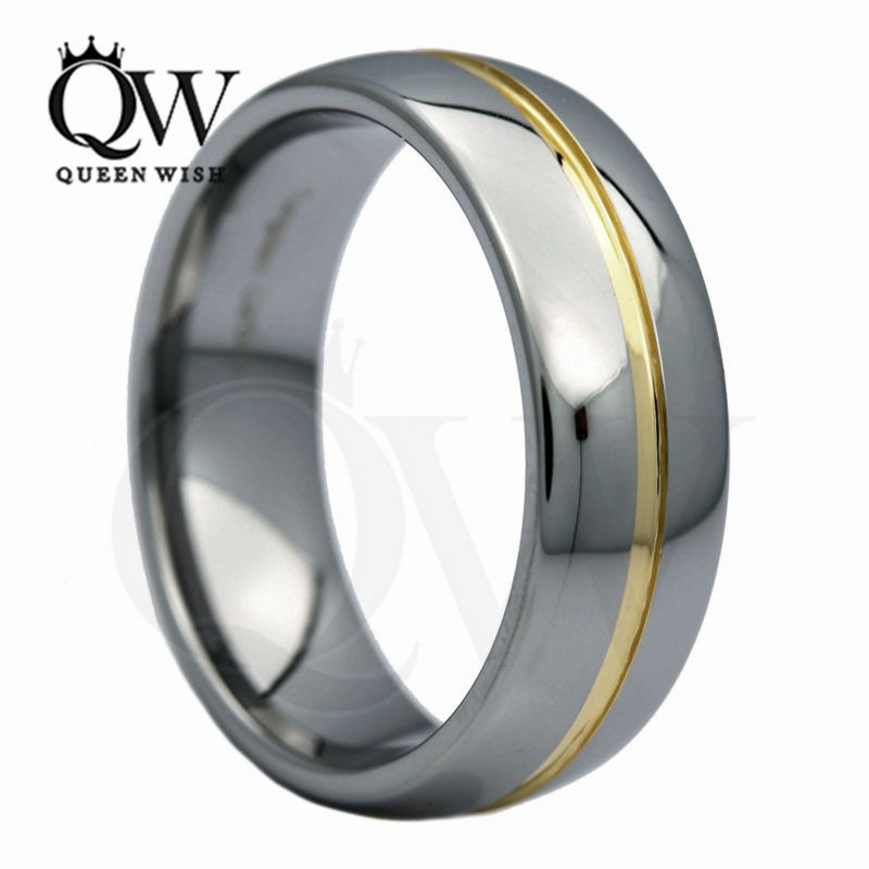 8Mm Tungsten Carbide Yellow Gold Plated Grooved Center Wedding Band Ring
