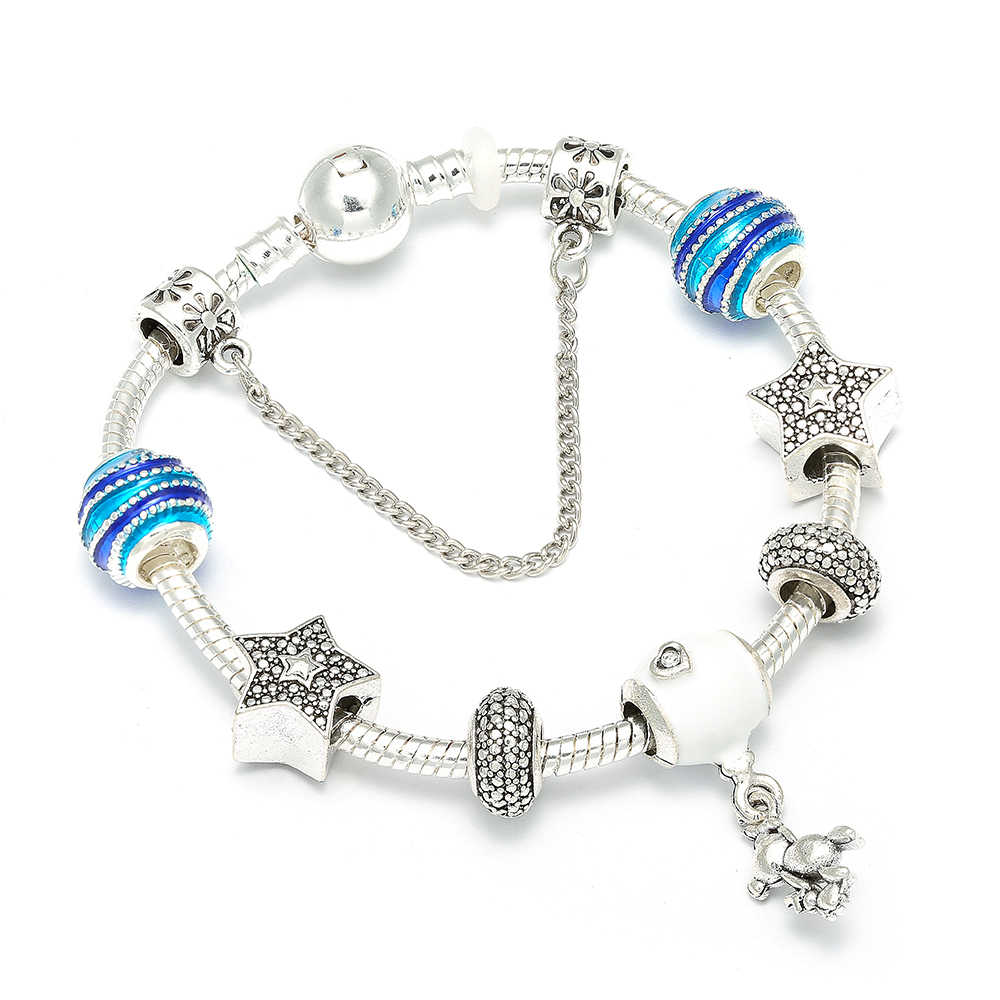 Silver Color Charm Bracelets With Teddy Balloon Pendants Brand Bracelet Rainbow Beads Charms For Children Gift