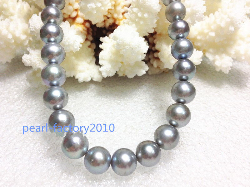 round AAA 1810-11mm REAL natural south sea silver gray pearl necklace >Selling jewerly free shipping