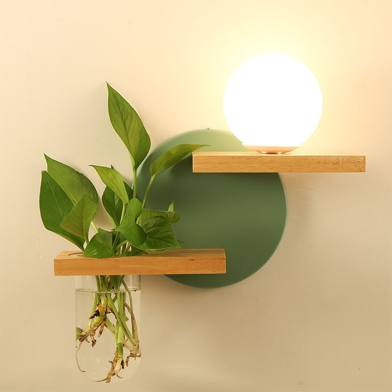 Creative Green Plant Pot Home Decor LED Wall Lamp Wooden E27 Socket AC 100-240V