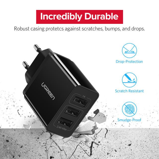 EU Plug Triple USB Phone Sharger with 1A USB Fast Charger