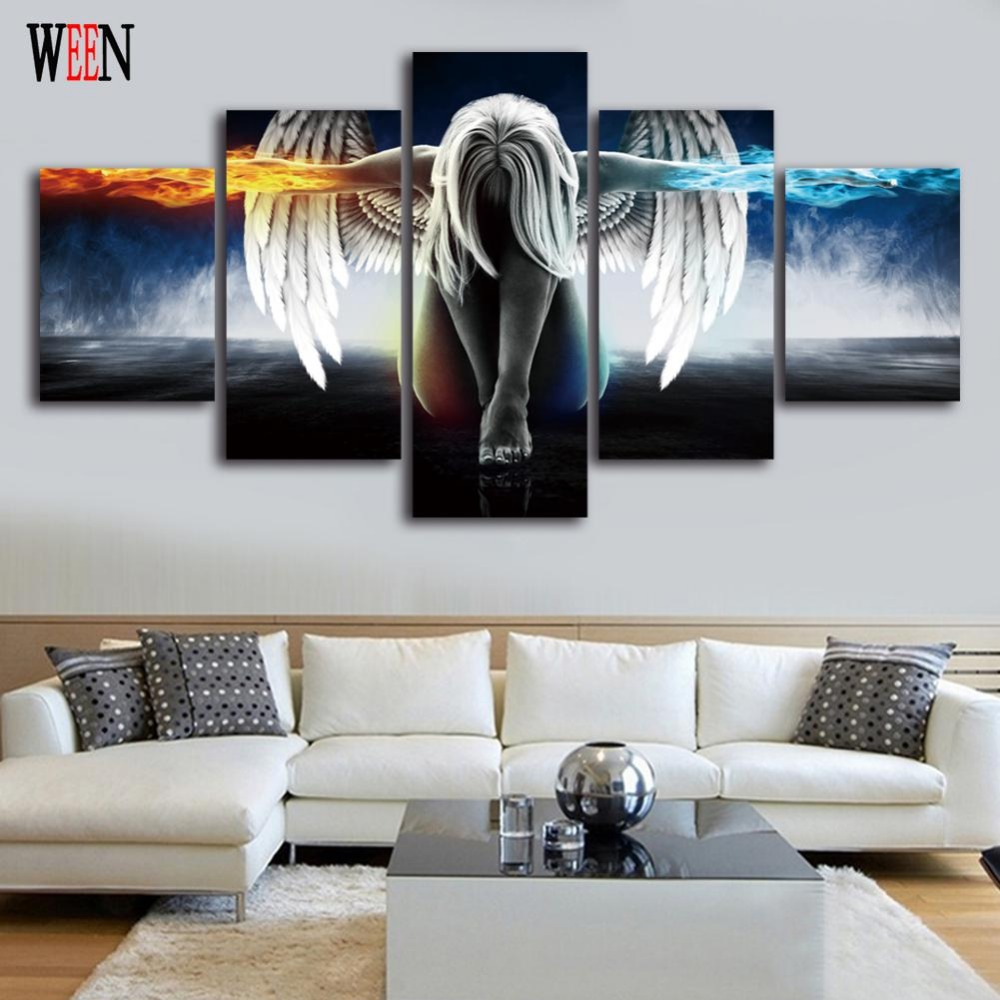 Ween angel cuadros decoracion 5 piece wall pictures canvas art for living room hd printed large for I ve been seeing angels in my living room