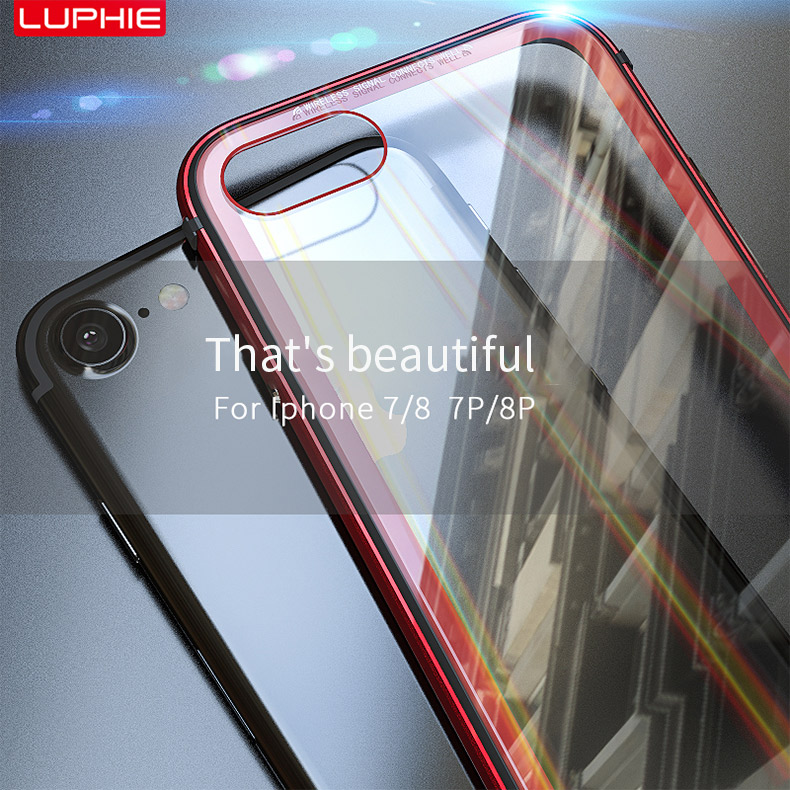 LUPHIE Aurora Laser Case For iPhone X 7 8 Plus clear glass Case (10)