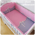 Promotion! 6PCS ropa de cuna  Animals Boy Baby Cot Crib Bedding Set (bumpers+sheet+pillow cover)