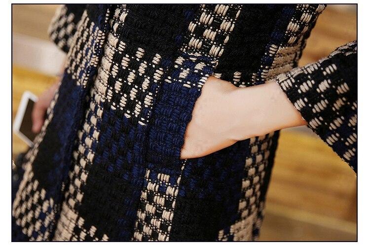 HanOrange 3 cuartos de la manga de la armadura del bolsillo temperamento elegante Contexture 2018 invierno de lana X-Plus tamaño - 6