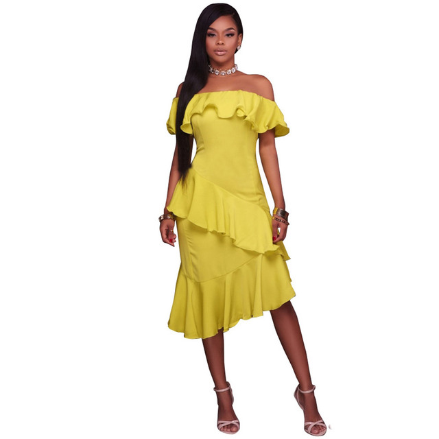 833d6b95255f Yellow Sexy Summer Casual Dress Simple Desigh Slash Neck Knee Length Women  Party Dance Dresses
