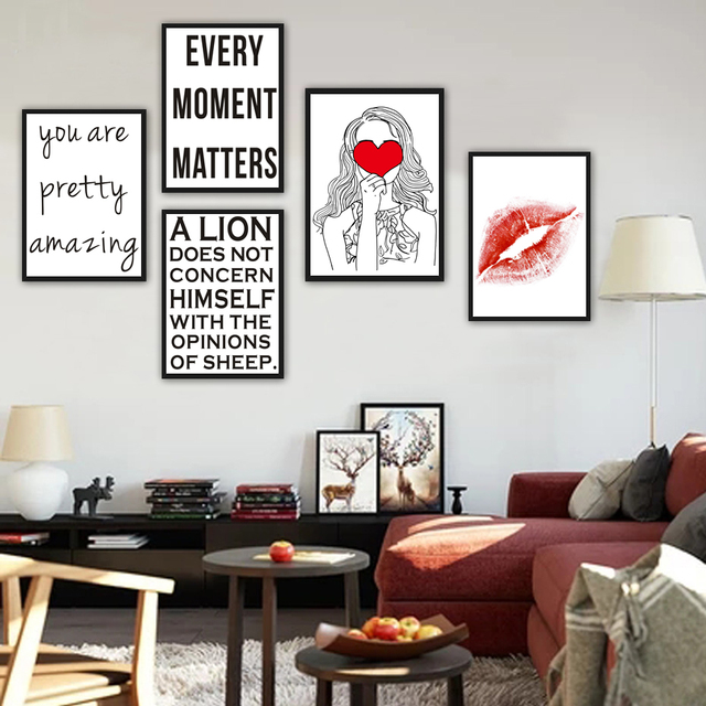 Us 3 03 24 Off Quotes Life Proverbs Red Heart Girls Red Lips Decorative Paintings Living Room Wall Background Wall Painting Art Pictures In Painting