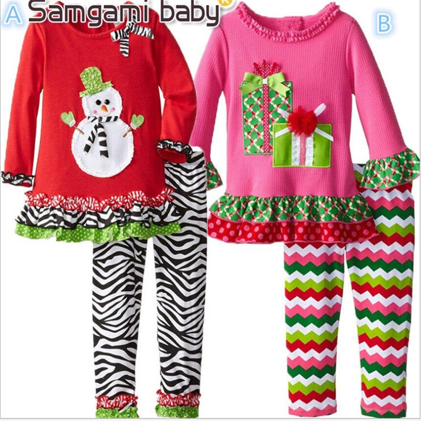 SAMGAMI BABY 2018 New Christmas Girl Dress Kids Cartoon Clothes Suit Childrens Christmas Gift Baby Girls Clothing Set