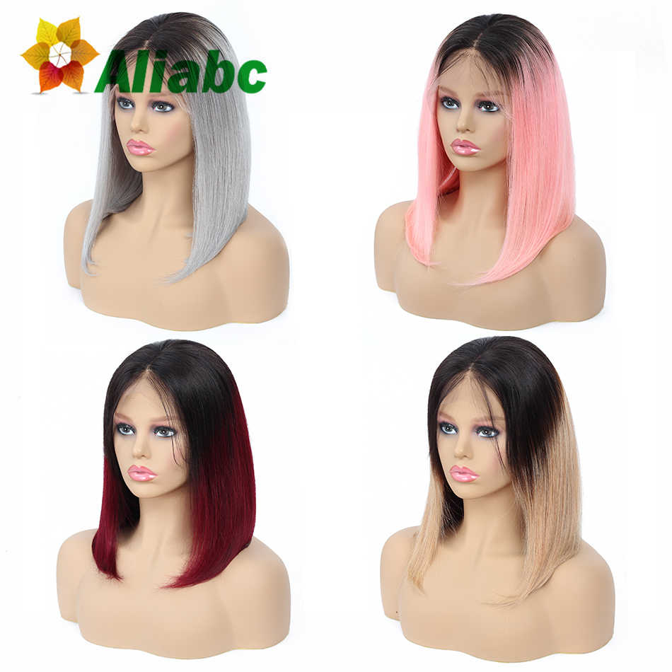Aliabc 13*4 Hair Bob Wigs Malaysian Lace Front Human Hair Wigs For Black Women  Remy Straight Short Lace Front Wigs