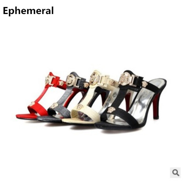 7612dccd2c3c Woman Pumps Thin Heels Open Toe Slippers With Sequined Sexy Shoes Summer Red  Heel Larger Size