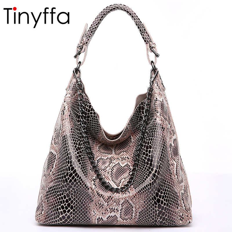 Tinyffa Famous Brand Snake Genuine Leather Handbag Women Bag Female Crossbody Bags For Women Shoulder Messenger Bag Tote Hobos