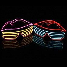 DHL FedEx 50 шт./лот Новая мода El Wire неоновый светодиодный освещение до затвора в форме КТВ вечерние фестиваль в честь Рождества очки с контроллером