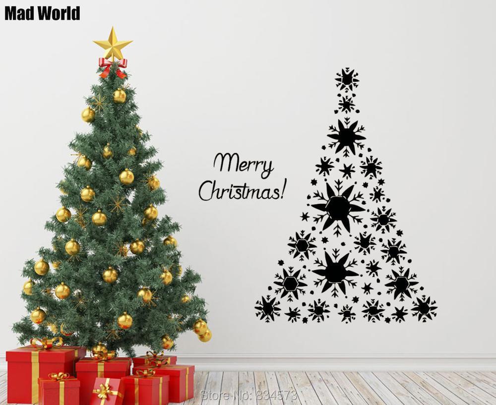 Mad World Merry Christmas Christmas Tree Wall Art Stickers Wall ...