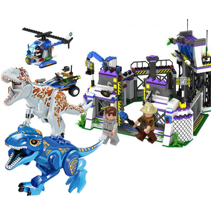 Jurassic Dinosaur Building Blocks Legaoings Escape Dinosaur Model Building Blocks gundam Use Weapon Action Boy Toys 848pcs wiben jurassic pterosauria dinosaur toys action
