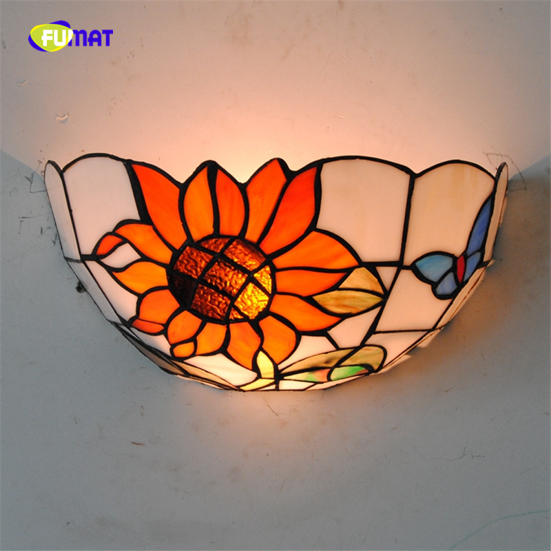 FUMAT Bohemia Sunflower Glassshade Wall Lamps Bedside Corner Light Wall Lamp Stained Glass Butterfly Wall Sconce Home Decor все цены