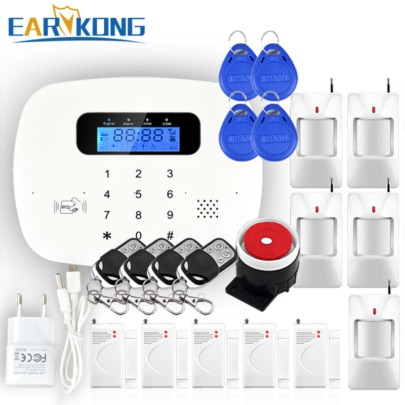 Touch Keypad RFID GSM Alarm System 433MHz Wireless Door Window Detector Motion Sensor Detector home security alarm Fire Smoke
