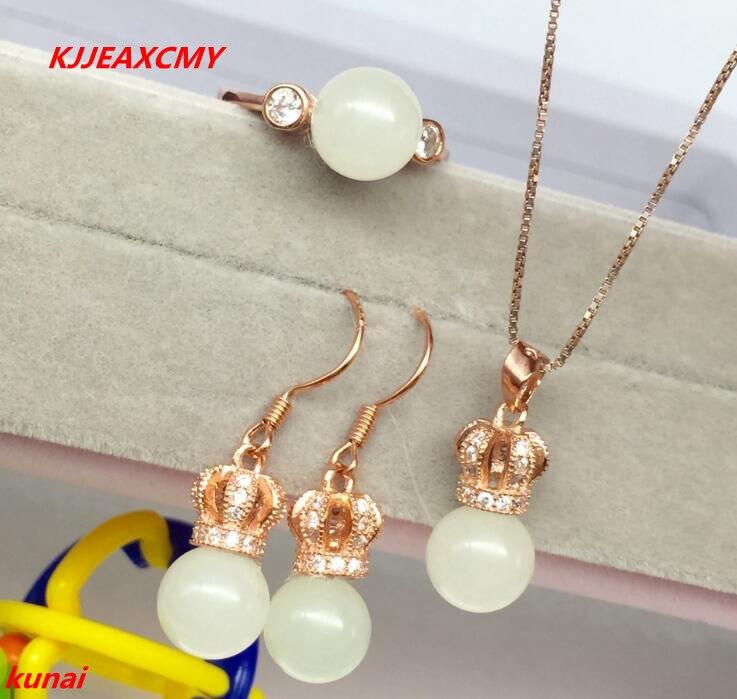 KJJEAXCMY boutique bijoux 925 argent incrusté avec naturel jaune couronne blanc marbre pendentif anneau boucles d'oreilles avec trois ensembles de nec