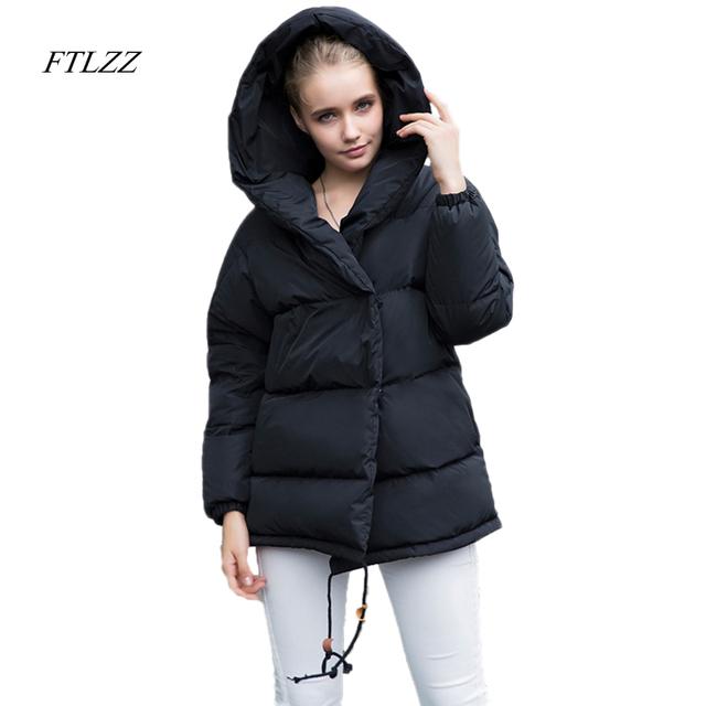 FTLZZ nowe zimowe Parkas kobiety Loose Fit 90% kaczka dół płaszcz średnio-długa grubość kurtka z kapturem ciepły śnieg różowy płaszcz