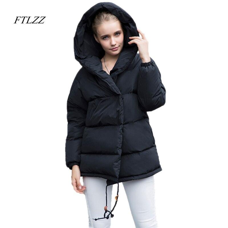 FTLZZ جديد الشتاء Parkas النساء فضفاضة تناسب 90% بطة أسفل معطف متوسطة طويلة سماكة مقنعين سترة الدافئة الثلوج الوردي المعطف-في معاطف قصيرة من ملابس نسائية على  مجموعة 1