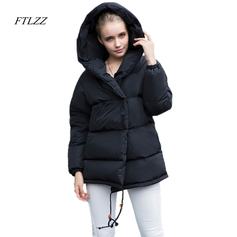 FTLZZ nouveau hiver Parkas femmes lâche Fit 90% duvet de canard manteau moyenne longue épaisseur à capuche veste chaude neige rose pardessus-in Doudounes longues from Mode Femme et Accessoires    1
