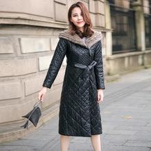 SWYIVY Genuine Leather Woman Coat Long Design 2018 Winter Fur Hooded Female Luxury Leahter Jacket Outwear Slim Warm Leather Coat