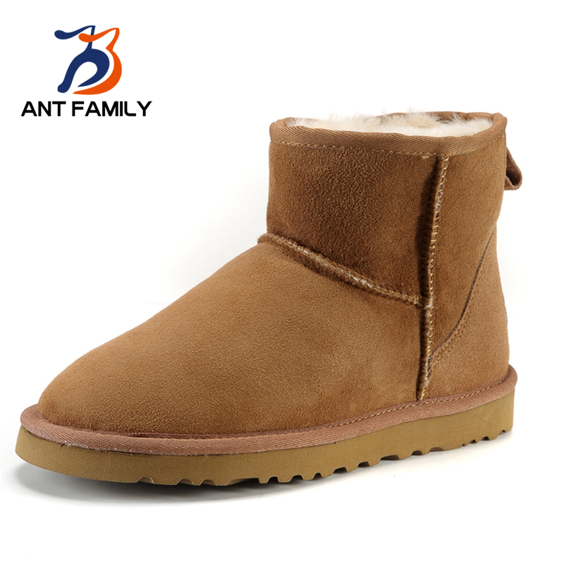 ANT FAMILY Natural Fur Snow Boots Women Winter 2017 Genuine Leather Ankle Boots Warm Australia Sheepskin Waterproof Snow Boots 2016 australia genuine sheepskin leather