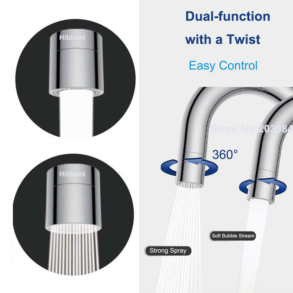 Dual-function 2-Flow Water Saving Faucet Aerator, 360-Degree Swivel Aerator Spray, Kitchen Sink Aerator Faucet Replacement Part