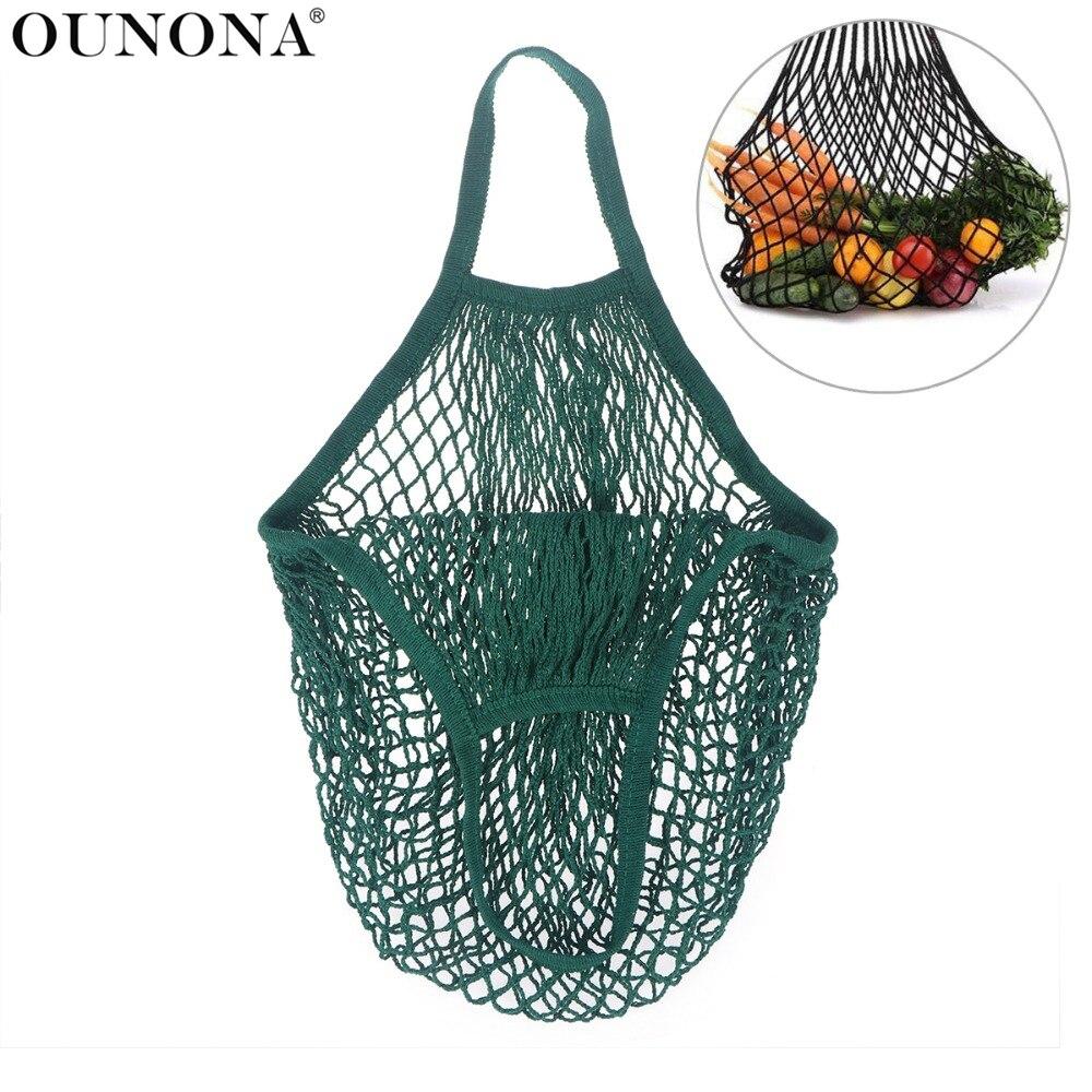 1PC atkārtoti lietojamās virknes Iepirkšanās Pārtikas maisiņu pircējs Tote Mesh Net austi kokvilnas soma